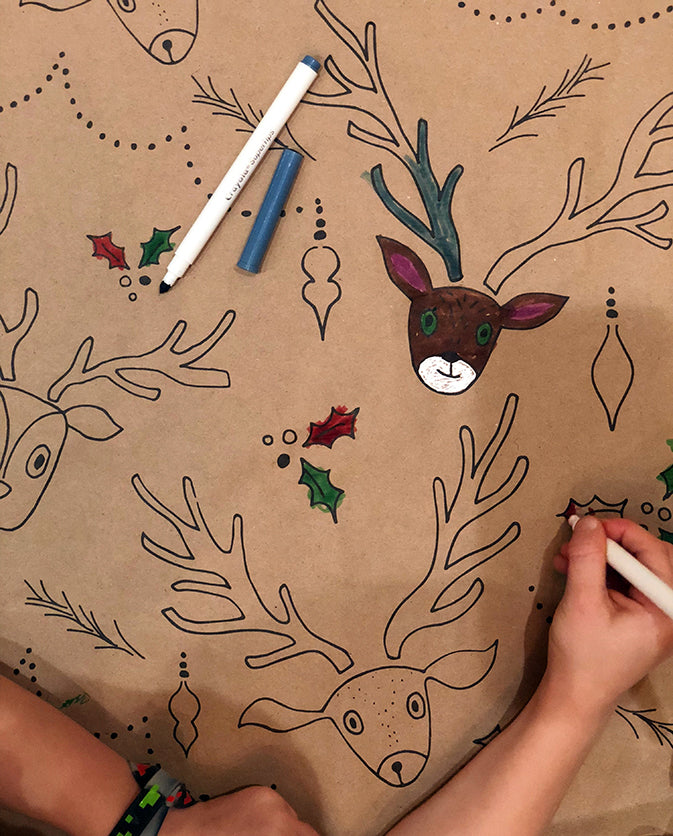 reindeer stamped craft wrapping paper