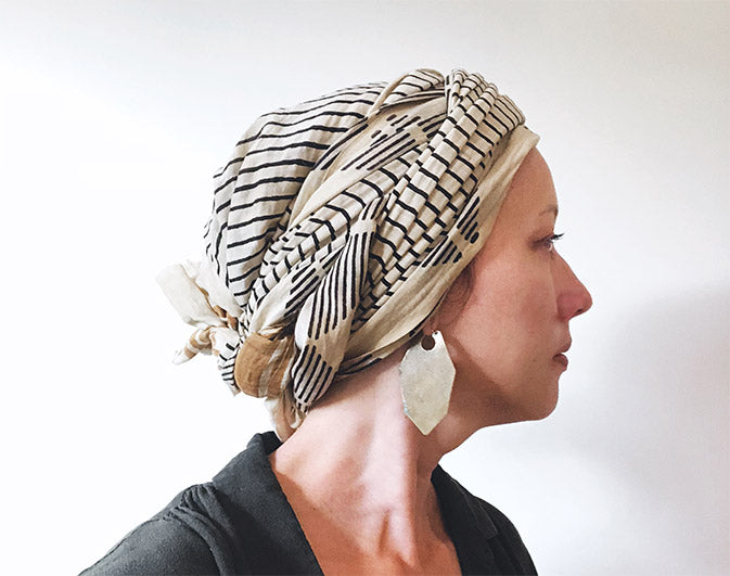 How to tie a head scarf for a cancer patient