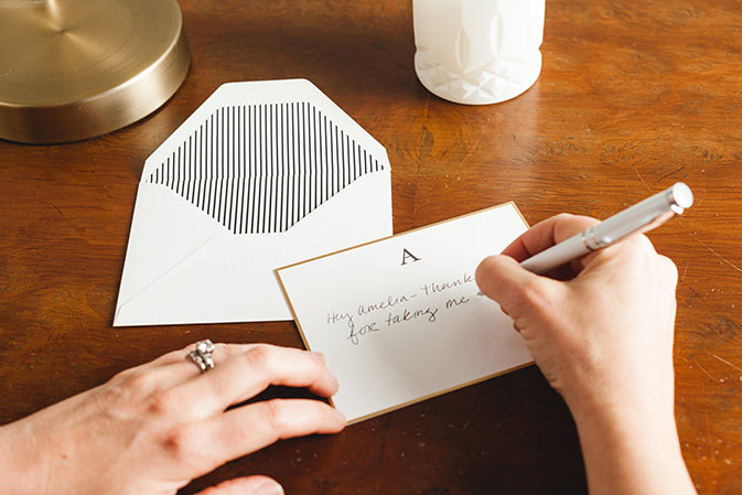 handwritten note on desk