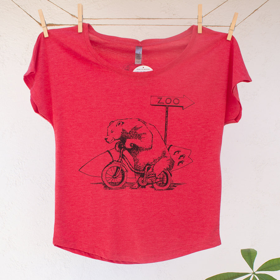 Bear with Surfboard Riding on Bike Tshirt Design Ladies