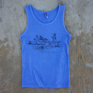 doggie paddle tank top in blue cotton