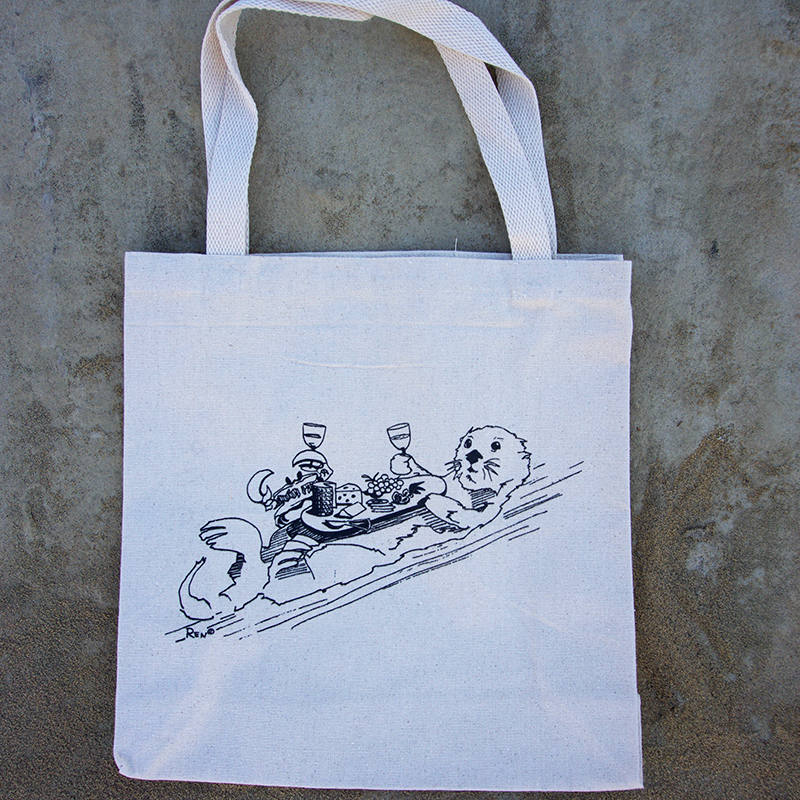 Sea Otter Drinking Wine and Eating Tote