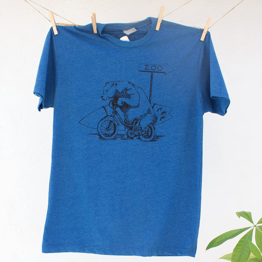 Bear with Surfboard Riding on Bike Tshirt Design