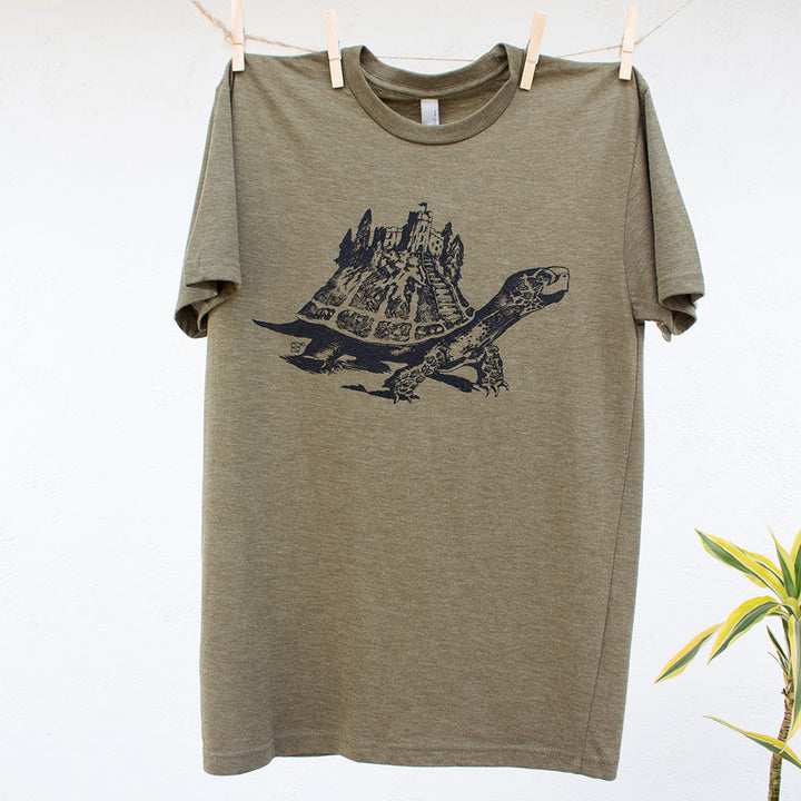 Cosmic Tortoise Castle on Back Tshirt Design