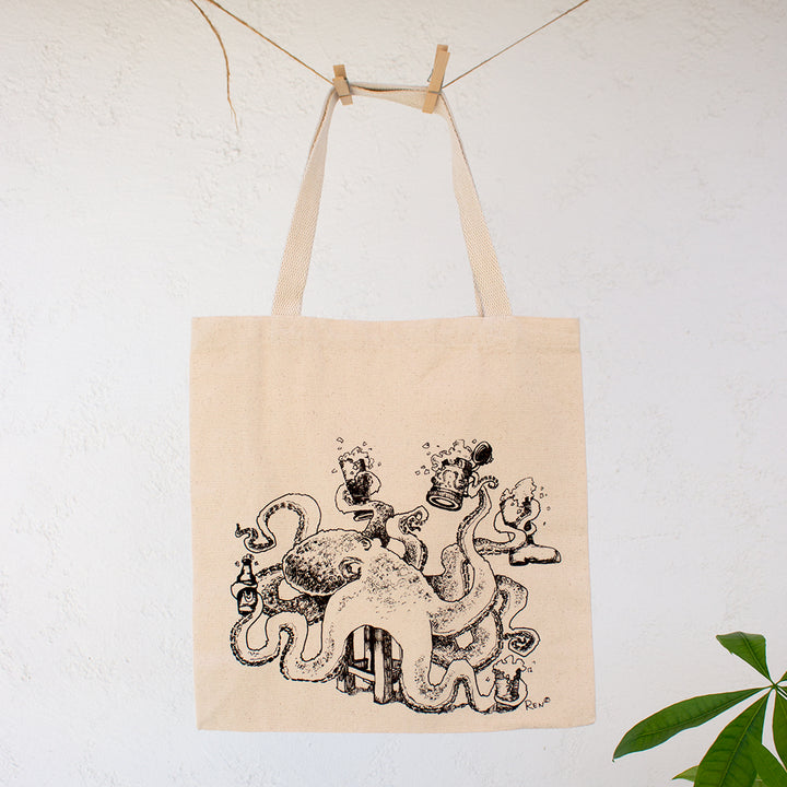 Octo-Beer Fest | Globe Logo Canvas Tote