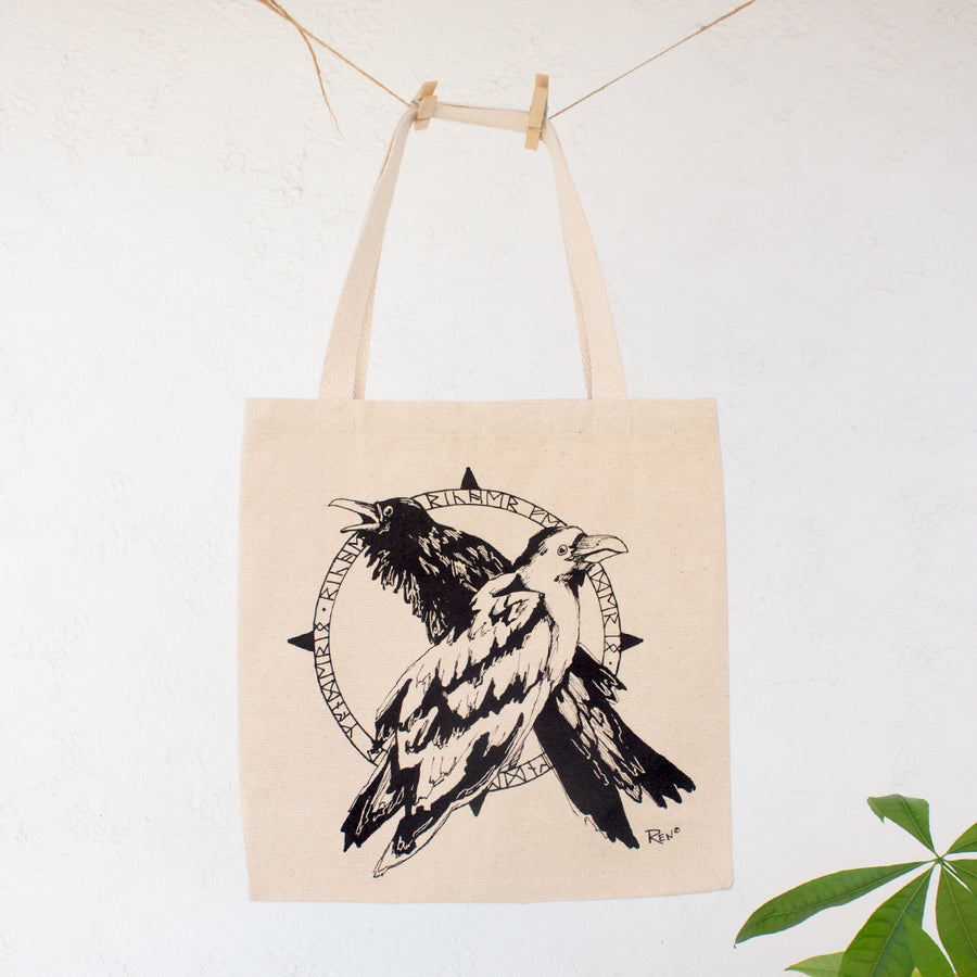 Odin's Ravens Norse Mythology Canvas Tote