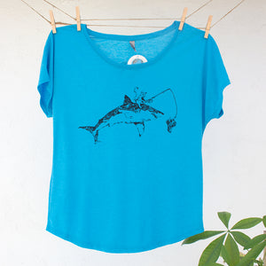 Cat Fishing on Great White Shark Tshirt Design