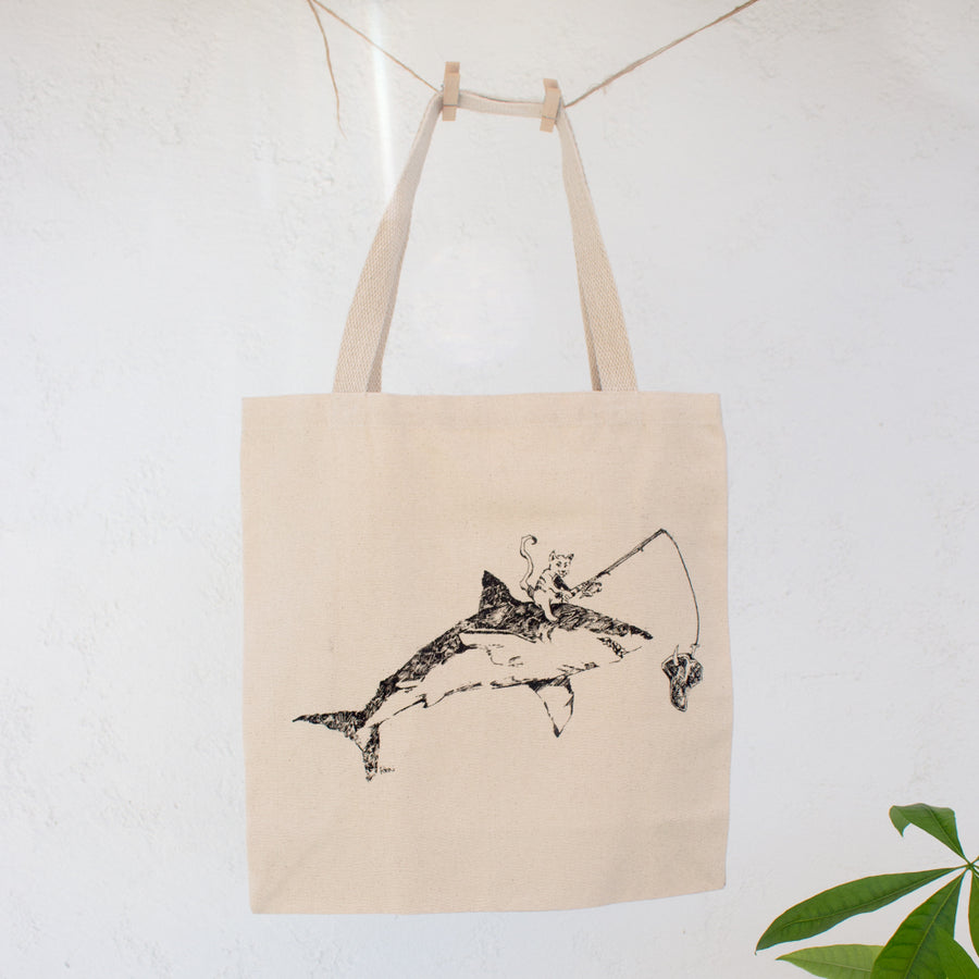 Cat Fishing on Great White Shark Canvas Tote