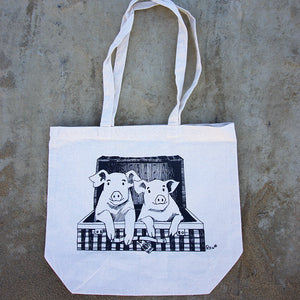 Traveling Pigs Long Tote Bag