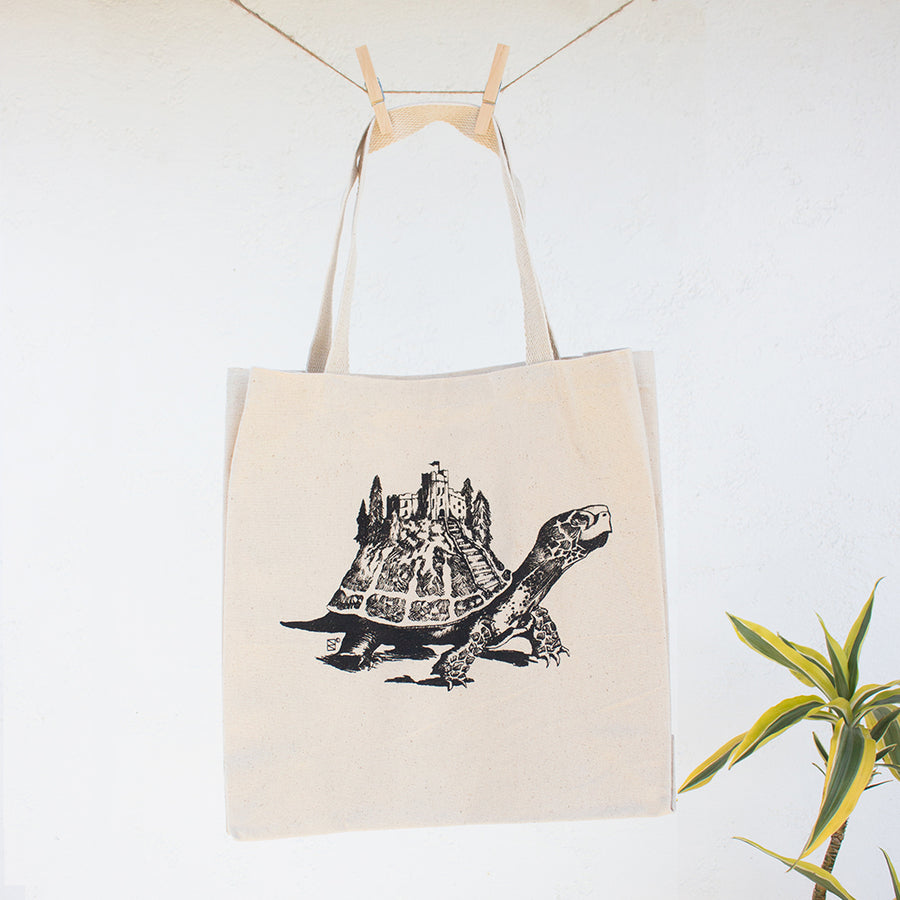 Castle on a Shell Tortoise | Globe Logo Canvas Tote