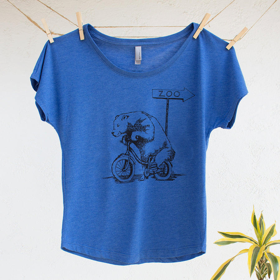 Bear Riding on Bike Tshirt Design Ladies