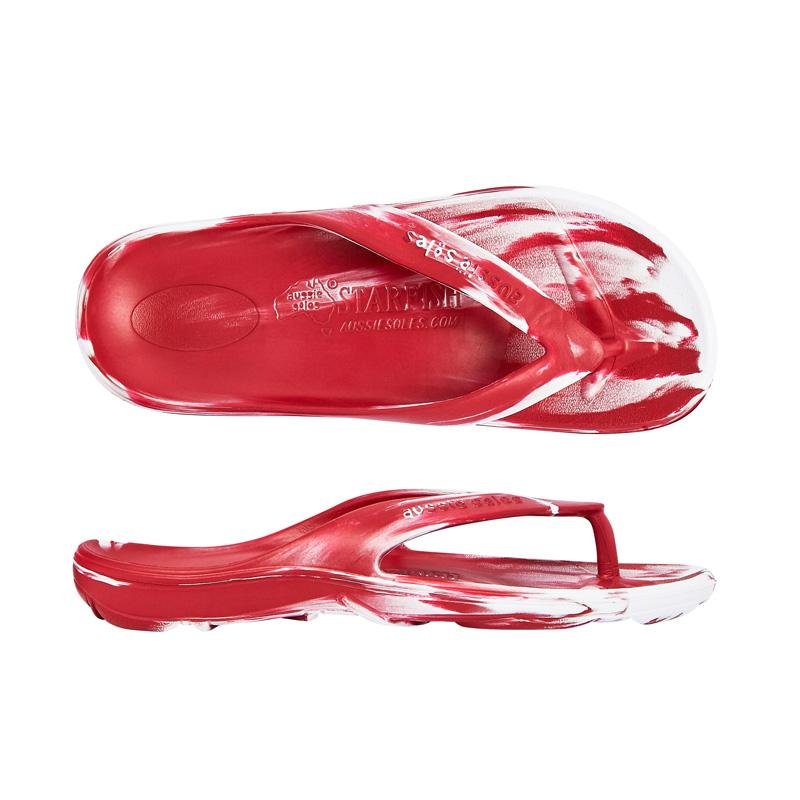 Starfish Orthotic Thongs - Maroon/White - Aussie Soles