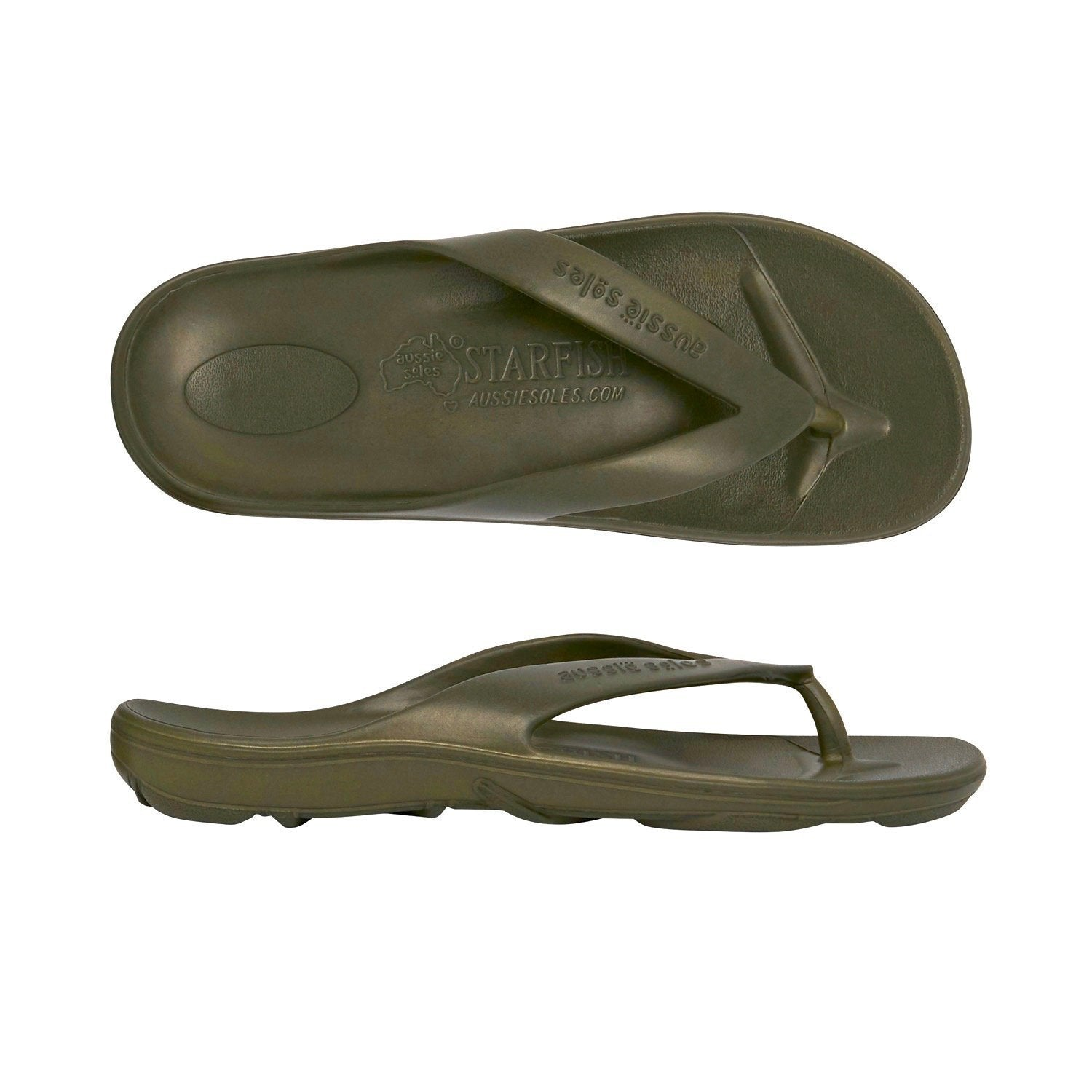 Starfish Orthotic Thongs - Olive - Aussie Soles