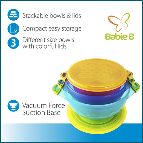 Best Suction Baby Bowls for Toddler and 6 Months Solid Feeding-3 Size Stay Put Spill Proof Stackable To Go Snacks & Storage-With 3 Seal-Easy Tight Lids-BPA Free-Perfect Baby Shower Gift Set