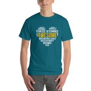 Short-Sleeve T-Shirt Thick Cotton To Make Dad Happy---Awesome Heart Word Art---Click for more shirt colors