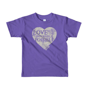 Toddler Short sleeve kids t-shirt---Love Makes the Impossible Possible---Click for more shirt colors