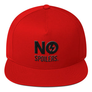 Flat Bill Cap 'No' is in 3D Puff Embroidery---No Spoilers Black Design---Click for more hat colors