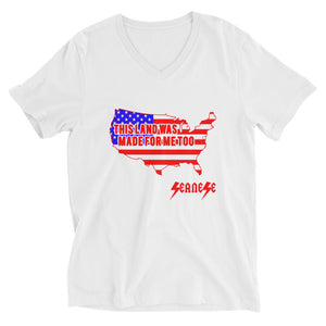 V-Neck T-Shirt---This Land Was Made for Me Too---Click to see White