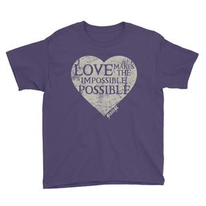 Youth Short Sleeve T-Shirt---Love Makes the Impossible Possible---Click for more shirt colors