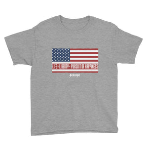 Youth Short Sleeve T-Shirt---Life, Liberty, Pursuit of Happiness---Click for more shirt colors