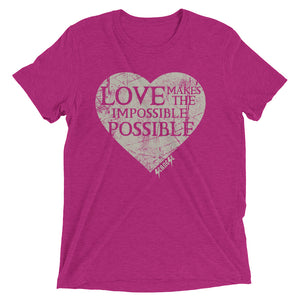 Upgraded Soft Short sleeve t-shirt---Love Makes the Impossible Possible---Click for more shirt colors