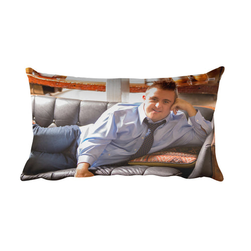 Rectangular Pillow Sean on Couch Printed one side only