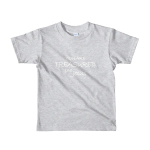 Toddler Short sleeve kids t-shirt---You Are Treasured. Love, Jesus---Click for more shirt colors