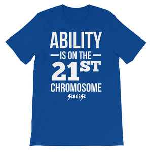 Unisex short sleeve t-shirt---Ability White Design---Click for more shirt colors