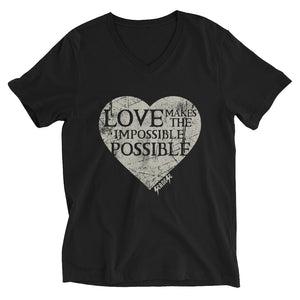 V-Neck T-Shirt---Love Makes the Impossible Possible