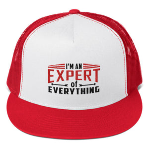 Trucker Cap---Expert of Everything Red/Black Design---Click for more hat colors