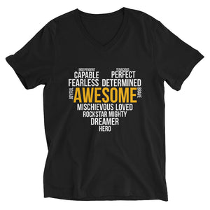 V-Neck T-Shirt---Awesome Heart Word Art