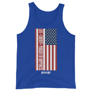 Unisex  Tank Top---Vertical Life Liberty Pursuit of Happiness---Click for more shirt colors