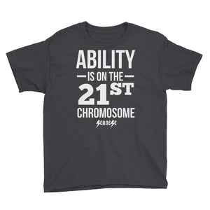 Youth Short Sleeve T-Shirt---Ability White Design---Click for more shirt colors