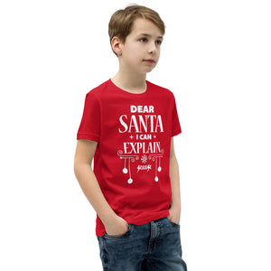 Youth Short Sleeve T-Shirt---Dear Santa I Can Explain---Click for more shirt colors