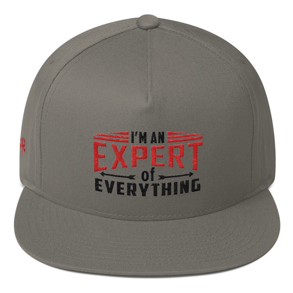 Flat Bill Cap---Expert of Everything Red/Black Design 'Seanese' Logo on right side---click for white
