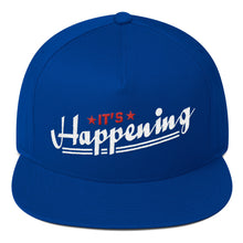Flat Bill Cap---It's Happening Red/White Design---Click for more hat colors