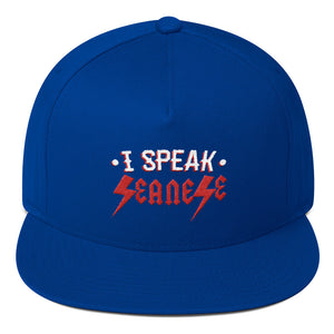 Flat Bill Cap---I Speak Seanese Red/White Design---Click for more colors