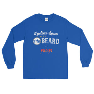 Long Sleeve WARM T-Shirt---Ladies Love My Beard White Design---Click for more shirt colors