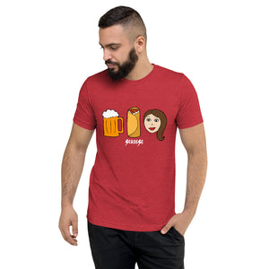 Upgraded Soft Short sleeve t-shirt---Beer Burrito Brunette Babe---Click for more shirt colors