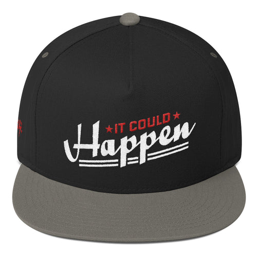 Flat Bill Cap---It Could Happen Red/White Design 'Seanese' logo on right side of cap--click for more hat colors