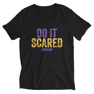 Unisex Short Sleeve V-Neck T-Shirt---Do it Scared---Click for more shirt colors