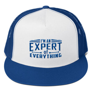 Trucker Cap---Expert of Everything Royal Blue Design---click for white