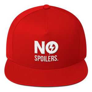 Flat Bill Cap 'No' is in 3D puff Embroidery---No Spoilers White Design--Click for more hat colors