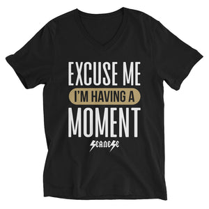 Unisex Short Sleeve V-Neck T-Shirt---Excuse Me I'm Having a Moment---Click for more shirt colors