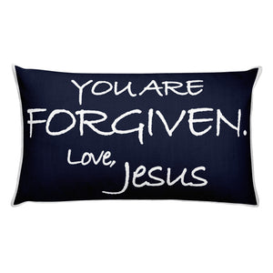 Rectangular Pillow---You Are Forgiven. Love, Jesus Navy Blue---Printed One Side Only, White on Back