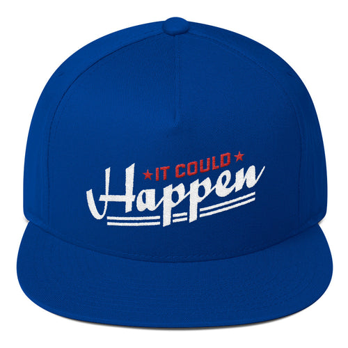 Flat Bill Cap---It Could Happen Red/White Design---Click for more colors