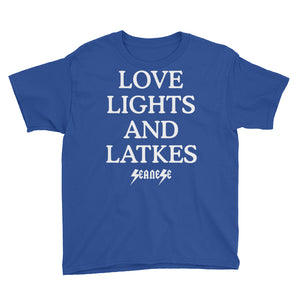 Youth Short Sleeve T-Shirt---Love, Lights and Latkes