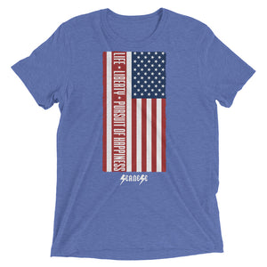 Short sleeve t-shirt---Vertical Life Liberty Pursuit of Happiness---Click for more shirt colors