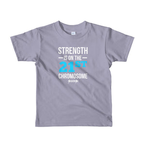 Toddler Short sleeve kids t-shirt---Strength Blue/White Design---Click for more shirt colors