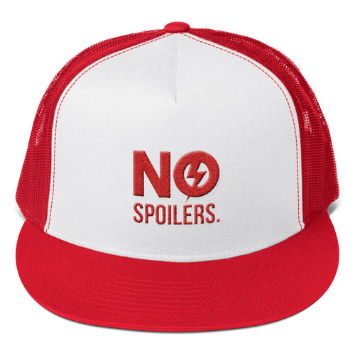 Trucker Cap 'No' is 3D Puff Embroidery---No Spoilers Red Design---Click for more hat colors